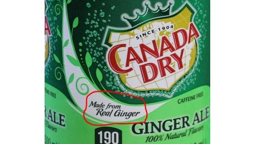 CANADA DRY குளிர்பானத்தில் துளியும் இஞ்சி இல்லை